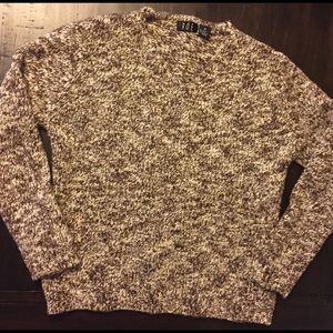 Brown multicolored wool V neck sweater
